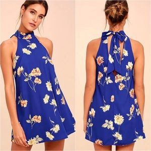 "🌸 ""Flower Power"" Halter Bow Tie Print Swing Dress"